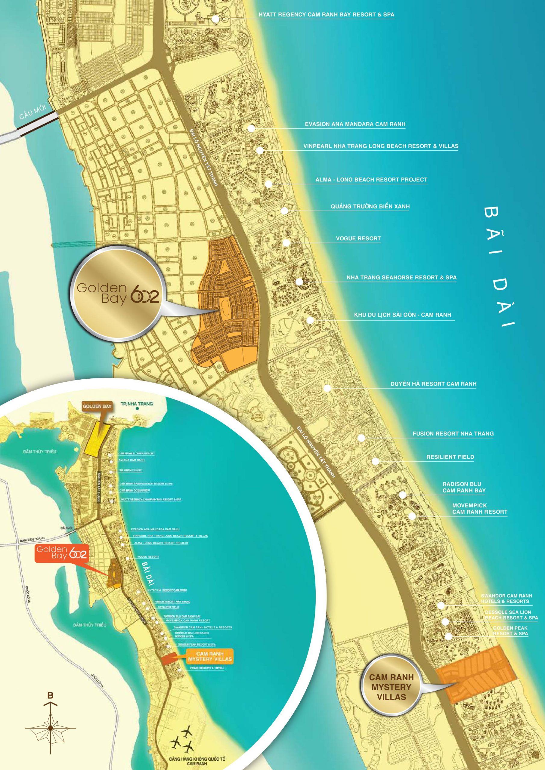 vị trí dự án đất nền golden bay 602 cam ranh hưng thịnh