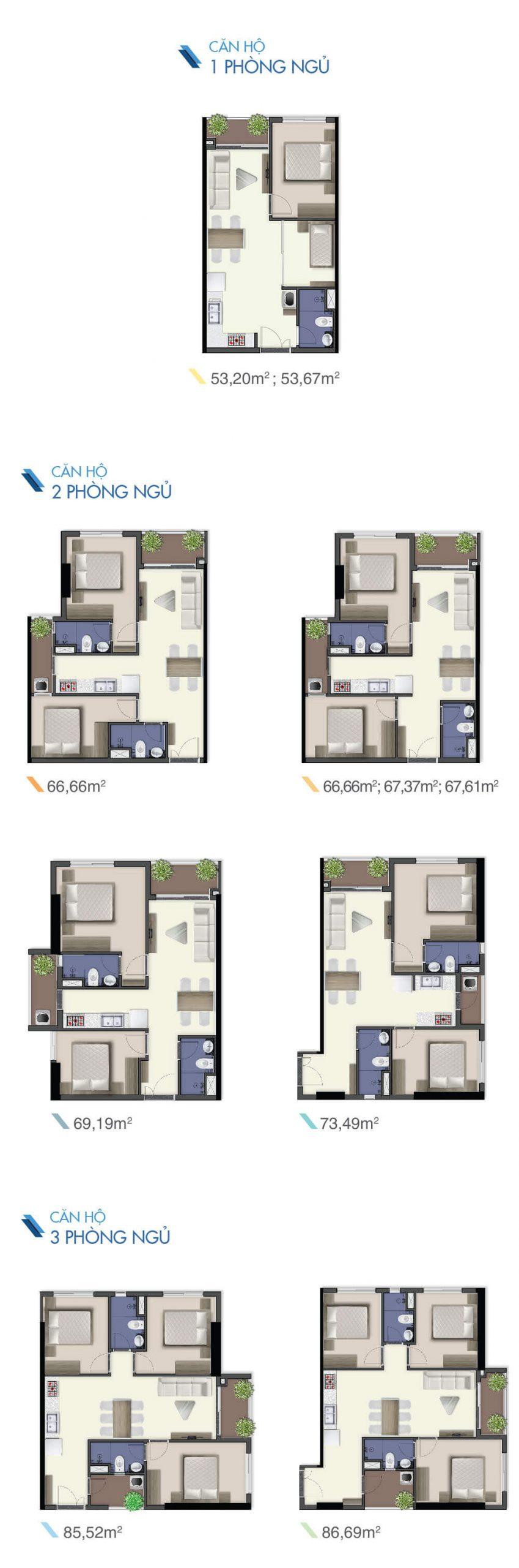 mẫu căn hộ điển hình dự án