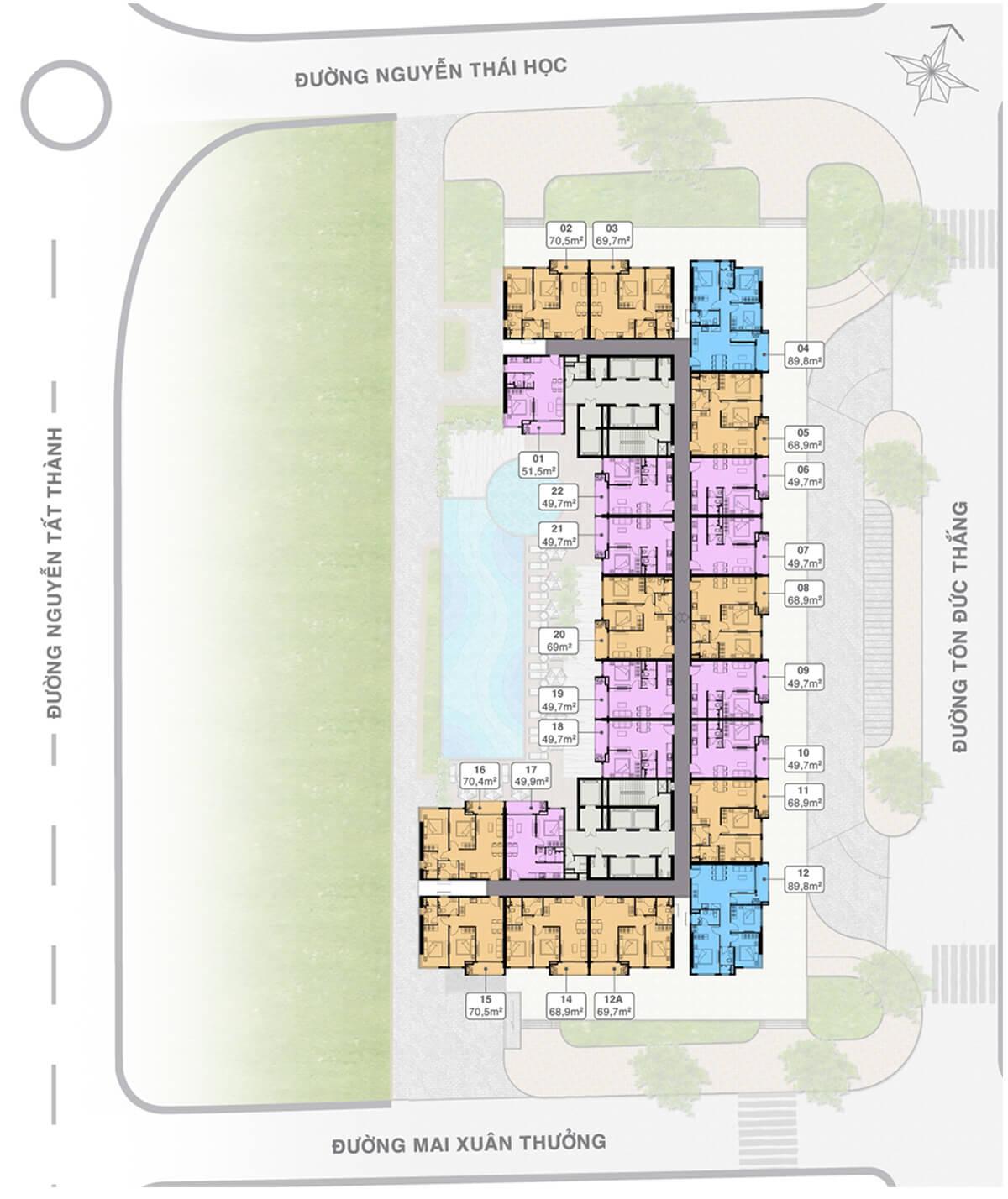 mặt bằng tầng điển hình dự án Grand Center Quy Nhon